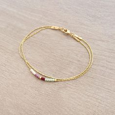 Minimalist Delicate Bracelet with Tiny Beads // Thin by Kurafuchi