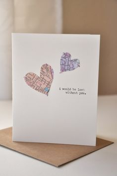 Handmade Anniversary Card - Valentine's Day Card -  Handmade Greeting Card - Map Hearts - I miss you - Love Card. $8.00, via | http://greeting-cards-46.blogspot.com