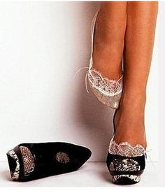 Love this lace look with the heels!