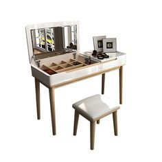 Bedroom Dresser solid wood dressing table simple and modern Nordic small clamshell Dresser painted dressing Cabinet