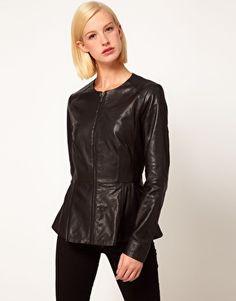 ASOS Leather Peplum Jacket With Zip Front
