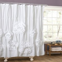 Lush Shower Decor Serena 72 by 72 Inch White/Ivory Ruffle Trim Bathroom Curtain #LushDecor