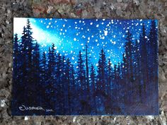 "Stars - Mountain Pine Trees silhouetted in a night sky with a galaxy of stars - 6"" X 9"" Original Watercolor Painting Christie Elder Ussher."