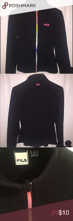 Fila black sports jacket with rainbow zipper 🌈 Really great sports jacket from FILA. Just enough stretch to be extra comfy! Fila Jackets & Coats