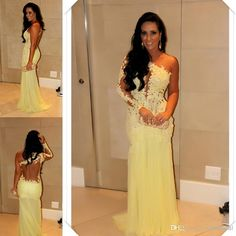 Dress: sexy prom yellow lace one shoulder evening gown