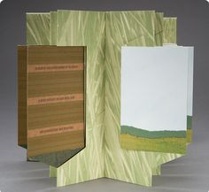 """Invented Landscape by Julie Chen.  Central panels float and turn as the book is manipulated showing an image on one side and text on the reverse. When standing and open, the image shows a continuous landscape. Accordion support printed in magnified grass image symbolizing """"... a time when much of the earth was covered with grass for as far as the eye could see from horizon to horizon an endless expanse of green under an immensity of sky."""""""