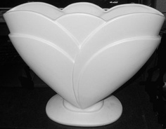 "Matte White Pottery- Dramatic Large  Royal Haeger Pottery Vase, #R6-26, 10"" Tall, 12"" Across"
