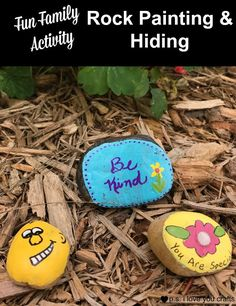 Painting and hiding rocks is a fun family activity. Rock painting is very popular. Writing inspirational messages and hiding them has become a fun community activity. Here is a list of supplies needed. and a story of how it got started. Fun Crafts For Kids, Craft Activities For Kids, Easy Diy Crafts, Family Activities, Diy For Kids, Rock Painting Ideas Easy, Painting For Kids, Hiding Rocks, Painted Rocks Craft