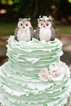 cute owls on this mint colored wedding cake