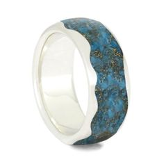 Crushed Turquoise Wedding Band, Wavy Sterling Silver Ring With Gold Shavings-3707