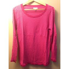 striped sweater red and pink striped light sweater, minor pilling Old Navy Sweaters Crew & Scoop Necks