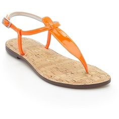 Sam Edelman Gigi Leather Thong Sandals ($75) ❤ liked on Polyvore featuring shoes, sandals, orange, sam edelman sandals, toe post sandals, flat thong sandals, ankle strap shoes and leather shoes