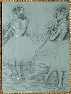 Two Dancers / Edgar Degas/ ca. 1879 / Charcoal and white chalk on green commercially coated wove paper