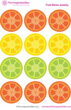 Make 'Tropical Fruit Slice Jewelry' with this free printable download from The ImaginationBox