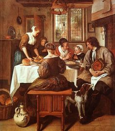 Jan Steen - The Prayer before the Meal ~ Jan Havickszoon Steen was a Dutch genre painter of the century. Psychological insight, sense of humour and abundance of colour are marks of his trade. Art And Illustration, Illustrations, Pierre Auguste Cot, Tableaux Vivants, Dutch Golden Age, Dutch Painters, Dutch Artists, Art Database, Oil Painting Reproductions