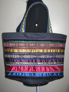 Luz Weber: Molde de bolsa - Bolsa jeans com aplicação de fita...