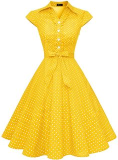 Perfect for rockabilly pinup wedding prom party, punk swing polka prom, lolita costume cosplay club wear,thanksgiving day and christmas party, vintage weekend or goodwood revival WedTrend Women's Retro Rockabilly Dress Cap Sleeve Vintage Swing Dress Old Fashion Dresses, Teen Fashion Outfits, Modest Dresses Casual, Stylish Dresses, Vintage Party Dresses, Vintage Outfits, Shopping Outfits, Frock For Women, Stylish Dress Designs