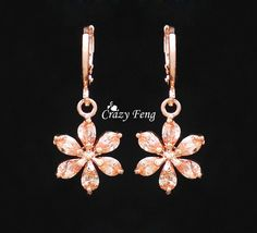 Top Quality 6 Colors CZ Diamond 18k Rose Gold Plated Dangle Drop Earrings Women's Jewelry Flower Crystal Wholesale Free Shipping-in Drop Earrings from Jewelry & Accessories on Aliexpress.com | Alibaba Group