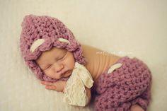 Pink Scallops Bonnet and Pants Set