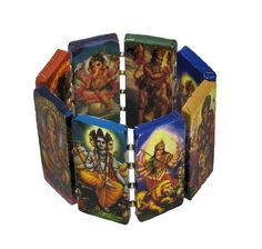 Paper Artwork Hindu Gods & Goddesses Stretch Bracelet Things2Die4. $14.98. Stretches to Fit Most Wrists. 2 1/8 in. High, 1 in. Wide. Paper Art. Save 50%!