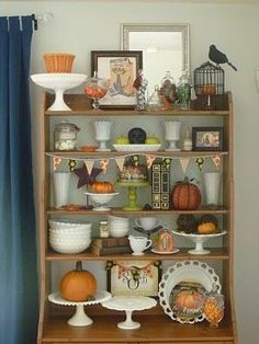 Fall milk glass display | Home