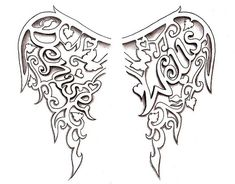 Angel Wings Tattoo design by Denise A. Wells - Google my name for more of my unique, girly, pretty tattoo designs and artworks!