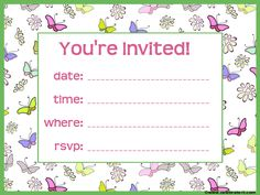 Free Butterfly Party Invitation