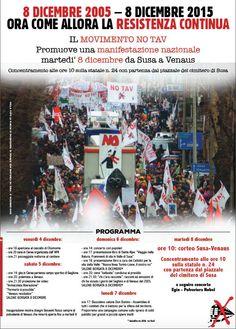 Manifestazione No Tav l'8 dicembre 2015. Una marcia tra Susa e Venaus per i dieci di Resistenza No Tav dal lontano 2005.