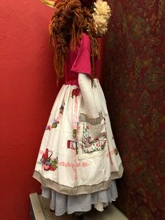 L/XL Embroidered Table Cloth Tee Shirt Dress-Recycled-UpCycled Mid-Length-Shabby Chic Layering Dress-Raggandbone-Sz:Large-Extra Large Refashioned Clothing, Upcycled Clothing, Patchwork Jeans, Vintage Embroidery, Sweet Style, Dress Outfits, Dresses, Mid Length, Layering
