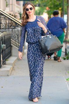 Miranda Kerr in a flowing Isabel Marant Etoile maxi dress.