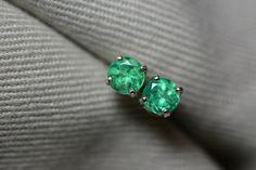 Fabulous 0.48 Carat Colombian Emerald Stud by SilverJewelery