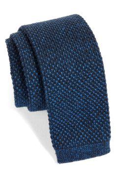 Main Image - Nordstrom Men's Shop Skinny Knit Cotton Tie.  http://shop.nordstrom.com/s/nordstrom-mens-shop-skinny-knit-cotton-tie/4535993?origin=keywordsearch-personalizedsort&fashioncolor=NAVY