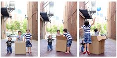 these parents announced the gender of their fourth baby to their children by putting balloons in a box (pink for girl, blue for boy), and had family pictures taken