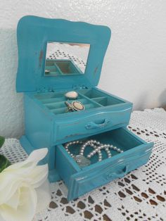 rustic aqua shabby chic valet jewelry box beach cottage french country home decor turquoise teal birthday