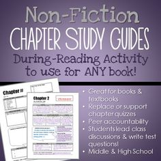 $- Students make chapter study guides - assess literal comprehension, summary, main idea, supporting a thesis, and more! Students lead in-class discussions and write test questions! Use during reading instead of chapter quizzes (or in addition). Use for ANY middle or high school non-fiction book (or textbook!)