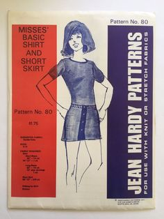 Vintage Jean Hardy Sewing Pattern 80 Misses Basic Shirt & Short Skirt Uncut 6-16 #JeanHardyPatterns #BasicShirtandShortSkirt