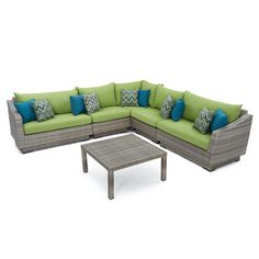 RST Brands Cannes 6-Piece Patio Corner Sectional Set with Moroccan Cream Cushions-OP-PESS6-CNS-MOR-K - The Home Depot Orange Cushions, Beige Cushions, Outdoor Sofa Sets, Outdoor Furniture Sets, Outdoor Spaces, Outdoor Living, Corner Sectional, Patio Seating
