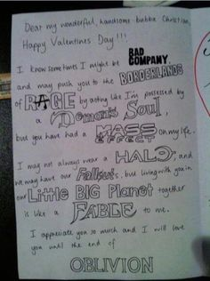 Gamer's love note