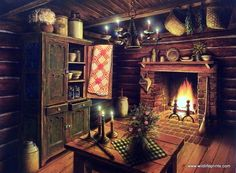 In Doug Knutson's print EVENING GLOW a primitive log cabin from days long ago has all the essentials--a butter churn, a quilt, candles, an open fireplace, jars and crocks for canning. A print which re