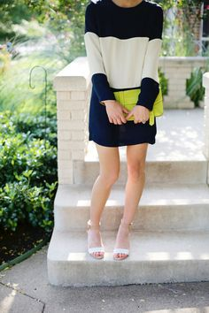 Navy, white, and lime.