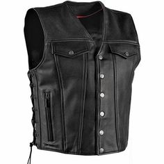 Milwaukee Gambler Mens Side Lace Conceal Carry Leather Motorcycle Vest