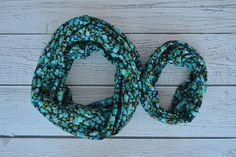 Blue and Black Floral Mother/Daughter Matching Infinity Scarf Set