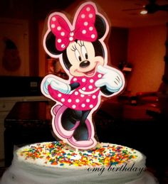 Pink Polka dots Minnie mouse Cake Topper Top by TheTutuFairy, $5.99