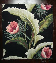 Rare 40s - Barkcloth with Black Ground Pink and Green Floral