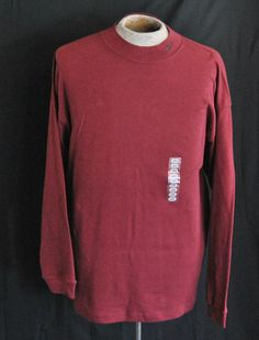 Reebok Shirt L Mens Long Sleeve Red Solid 100% Cotton New with Tags  #Reebok #TShirt Buy Now  $11.97
