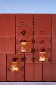 [City Library Bruges / Studio Farris Architects] Corten with holes for under parts Metal Facade, Metal Cladding, Metal Screen, Architecture Metal, Detail Architecture, Contemporary Architecture, Chinese Architecture, Facade Design, Exterior Design