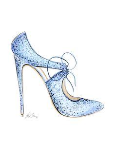 Frozen Heels Watercolor Fashion Illustration Print by KaraEndres