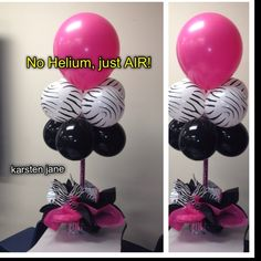 Cute balloon center piece idea. NO Helium needed!