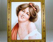 "NORM KELLEY Hand Painted Portrait of Evelyn Nesbit ""Gibson Girl"" on Porcelain"