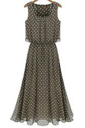 Vintage Scoop Neck Sleeveless Polka Dot Chiffon Women's Dress